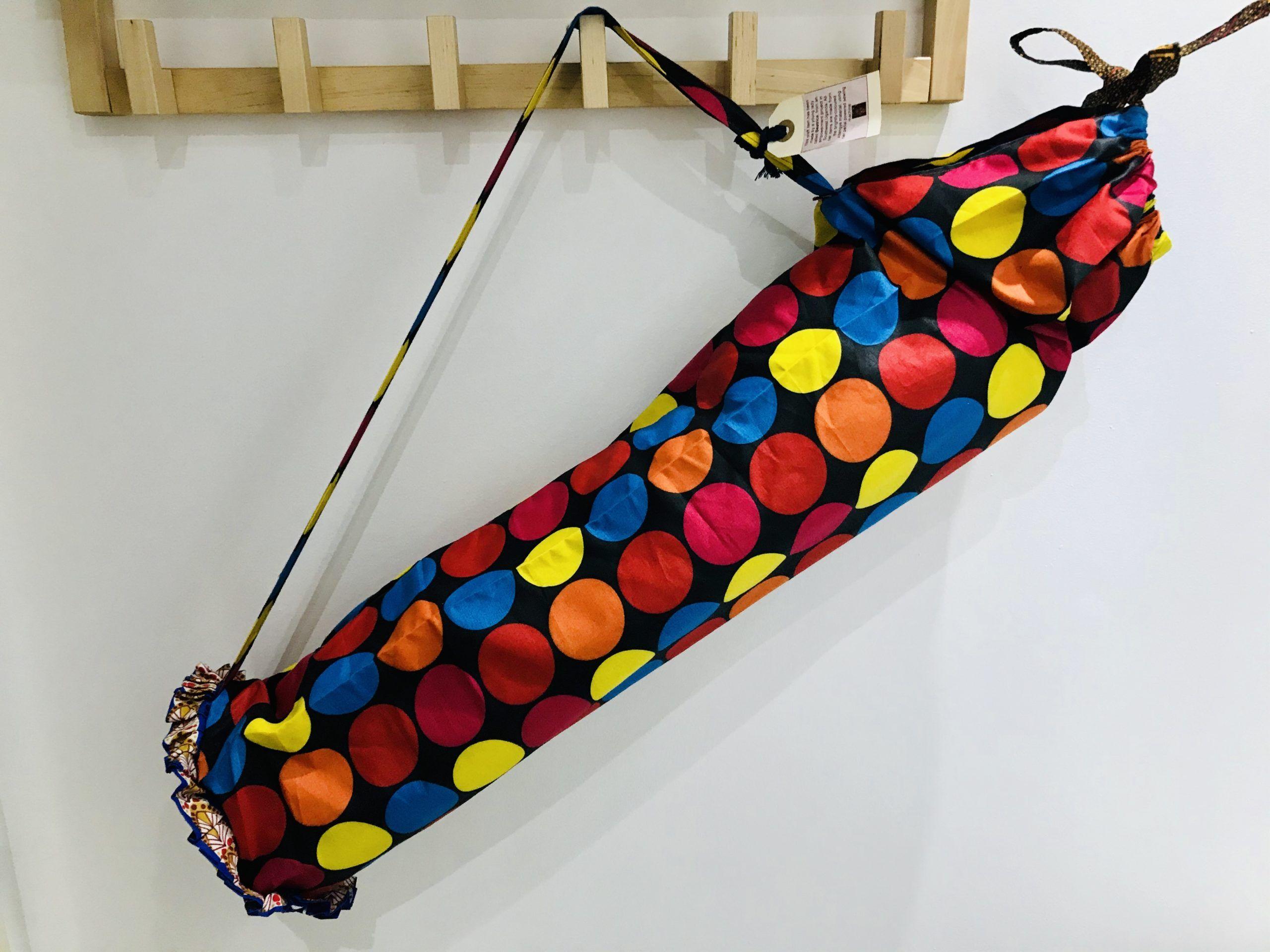 African 'kitengye' fabric exercise mat bags – polka dot 1