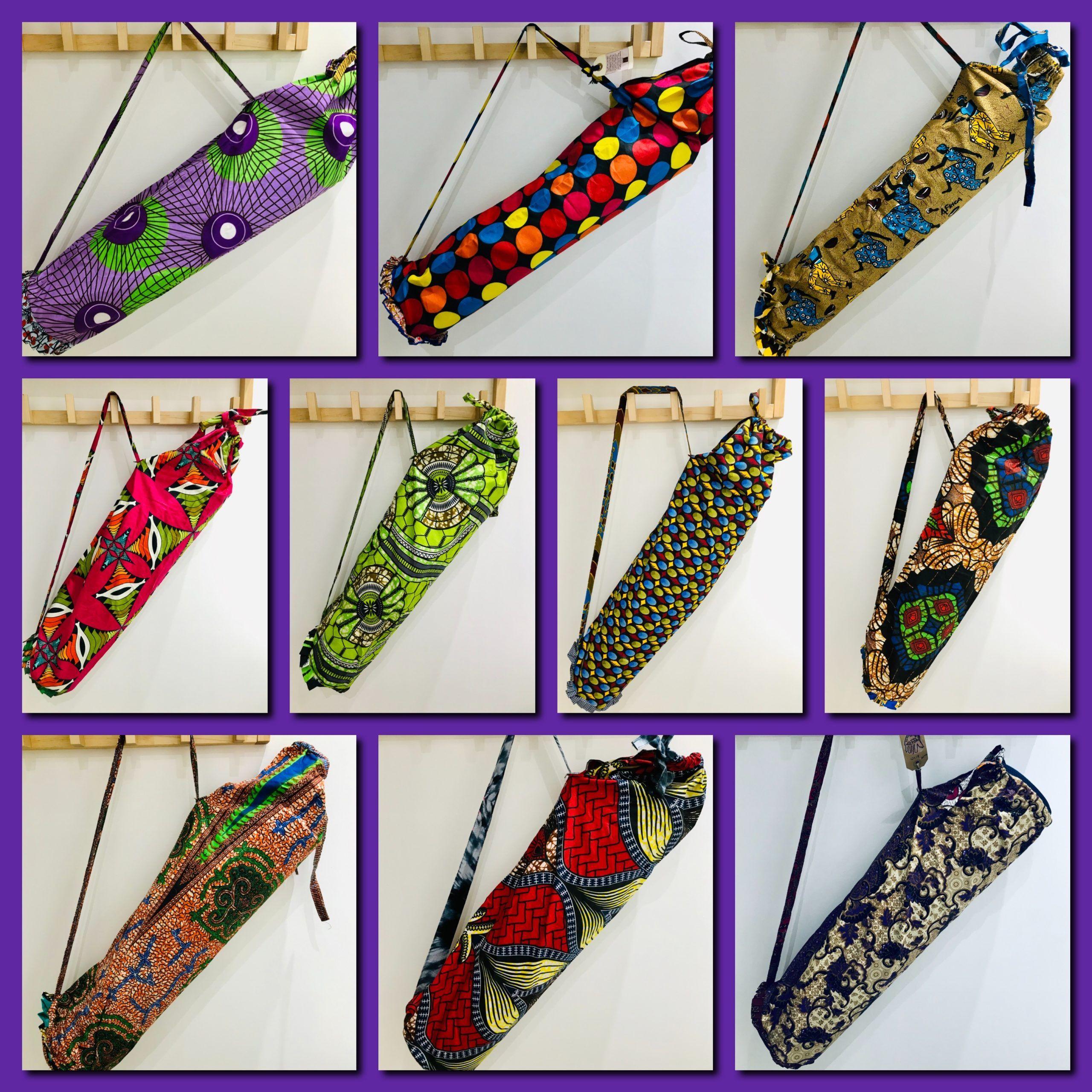African 'kitengye' fabric exercise mat bags – polka dot 2