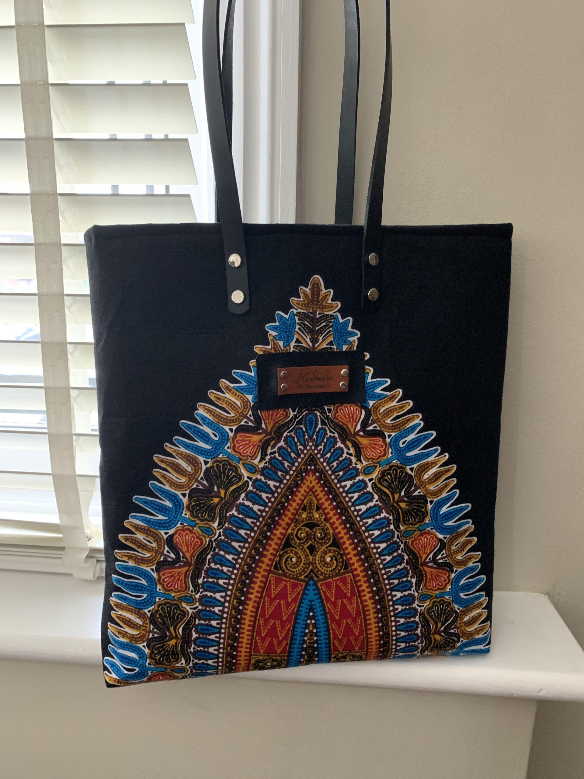 Leather Dashiki Tote Bag 1