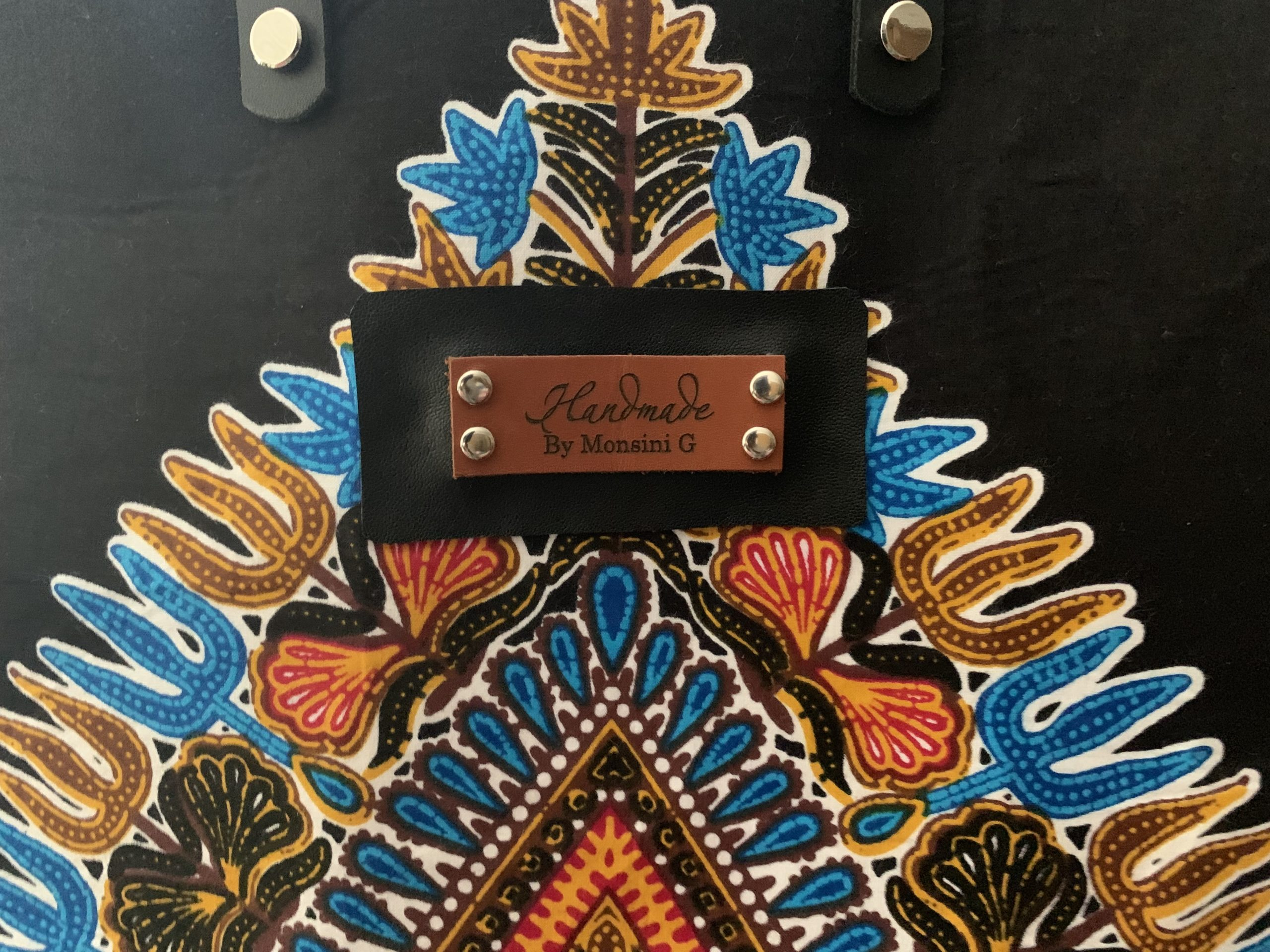 Leather Dashiki Tote Bag 2